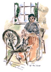 Am Spinnrad im Armenhaus