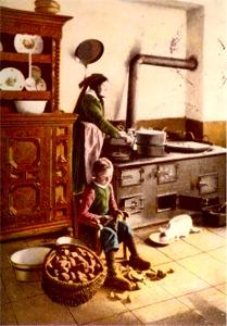 Küche eines westfälischen Bauernhauses, um 1910