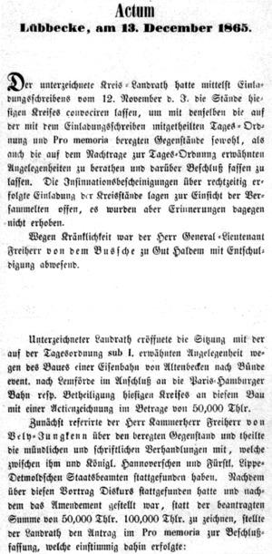 Protokoll Versammlung der Kreisstände, 1865