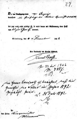 Erinnerungsschreiben, 1842