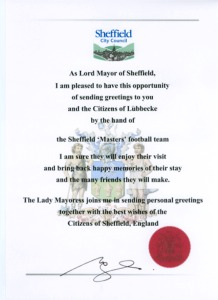 Urkunde Sheffield City Council 2005